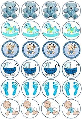 24 x Baby Boy papel de arroz comestible cupcake/hada para ...