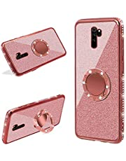LCHDA Glitter Case for Xiaomi Redmi Note 8,Bling Diamond Shiny Rhinestone Bumper Sparkle Dual Layer Hard Plastic Soft Clear Crystal TPU Kickstand Shockproof Protective Cover with Ring Holder-Rose Gold