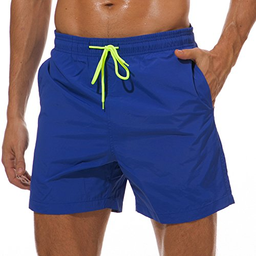 SILKWORLD Men's Swim Trunks Quick Dry Beach Shorts with Pockets, US XL, Blue