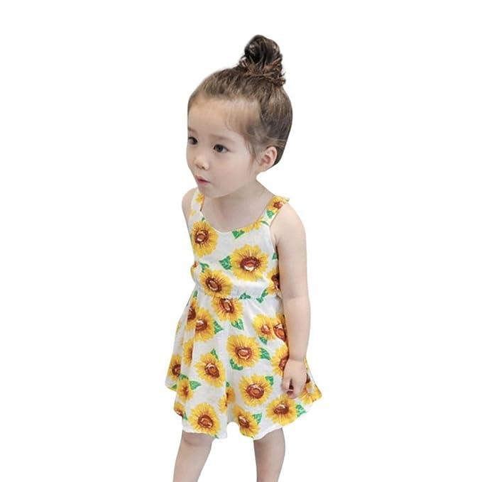 FAMILIZO Vestido De Girasol Para NiñA Vestido Sin Mangas Floral Sin Mangas Del Vestido De Sunflower