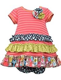 Baby Girls Coral Stripe Knit to Mix Print Tiers Knit Dress