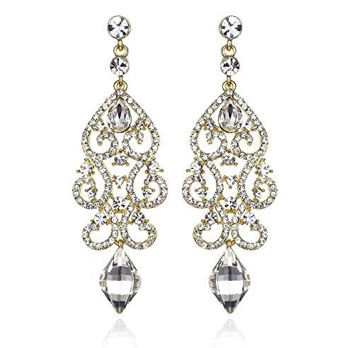 Janefashions Large Sexy Austrian Crystal Rhinestone Chandelier Dangle Earrings Bridal E2084 3 Colors (Gold) ()
