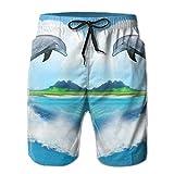 Beach Volleyball Shorts, Dolphin Love Heart Beach Pants Shorts for Men Boys, Outdoor Short Pants Beach Accessories