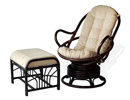 - Lounge Set of 2: Swivel Rocking Java Chair Natural Rattan Wicker Handmade and Ottoman Krit with Cream Cushion, Dark Brown