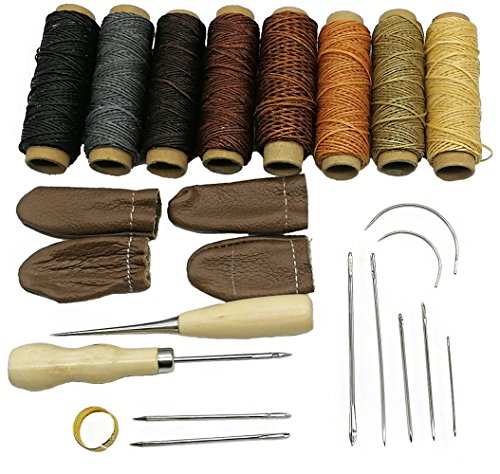 HanTof 24 Pieces Leather Craft Tools with 8 Colors Leather Sewing Waxed Thread Hand Sewing Needles Drilling Awl and Thimble for Leather Upholstery Carpet Canvas DIY Sewing