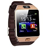 ULTREND DZ09 Stud Bluetooth Smart Watch Fit for Smartphones IOS Apple iphone 4/4S/5/5C/5S Android Samsung S2/S3/S4/S5/S6Edge/Note2/Note3 /HTC Sony Blackberry and Other Andriod Phone (GOLD BROWN)
