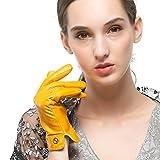 Nappaglo Women's Italian Lambskin Leather Gloves Winter Warm Simple Long Fleece Lining Gloves (Touchscreen or Non-Touchscreen) (M (Palm Girth:7''-7.5''), Yellow (Non-Touchscreen))