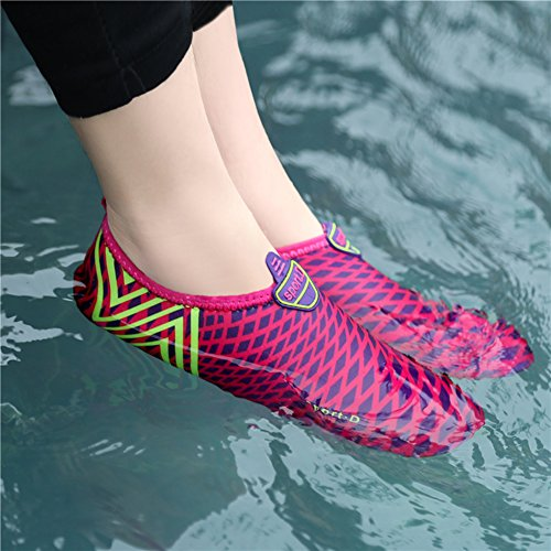 L-RUN Unisex Water Shoes Barefoot Skin Shoes For Run Dive Surf Swim Beach Yoga Rose Red White 8LZWR
