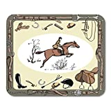 HOTNING Gaming Mouse Pad Equestrian Sport with Horse Rider England Steeplechase Derby in Belt with Bit Saddle 11.8'x 9.8' Decor Office Computer Accessories Nonslip Rubber Backing Mousepad Mouse Mat