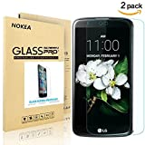 [2 PACK] LG K10 Screen Protector, NOKEA Full Coverage [9H Hardness] [Crystal Clear] [Easy Bubble-Free Installation] [Scratch Resist] LG K10 Tempered Glass Screen Protector (For LG K10)