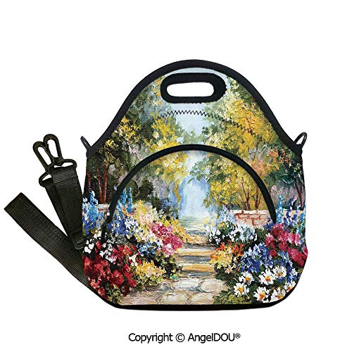 AngelDOU Flower Neoprene Lunch Tote bag With shoulder strap Oil Painting Style View of Autumn Season and Natural Meadow Garden Spring Field for Women Kids Baby Girls.12.6x12.6x6.3(inch)