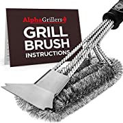 #LightningDeal Alpha Grillers Grill Brush and Scraper. Best BBQ Cleaner. Perfect Tools for All Grill Types, Including Weber. Stainless Steel Wire Bristles and Stiff 18 Inch Handle. Ideal Barbecue Accessories