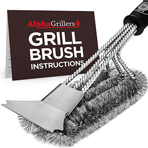 (Alpha Grillers Grill Brush and Scraper. Best BBQ Cleaner. Perfect Tools for All Grill Types, Including Weber. Stainless Steel Wire Bristles and Stiff 18 Inch Handle. Ideal Barbecue Accessories)