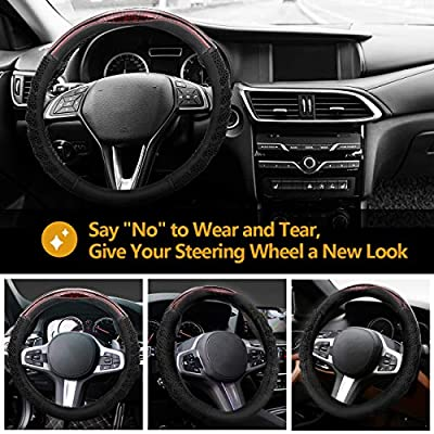 MoKo Car Steering Wheel Cover 3D Honeycomb Hole Anti-Slip Designed Four Season Stretch-on Universal Car Wrap Cover Fit 15 Inch Fashionable Steering Wheel Car Accessories - Black …