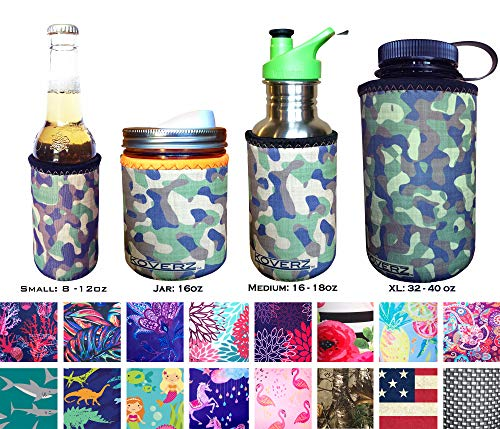 Koverz for Jars - #1 Neoprene Mason Jar Coolie 16 oz Insulator Sleeve - Choose from 14 Styles! - Vintage ()