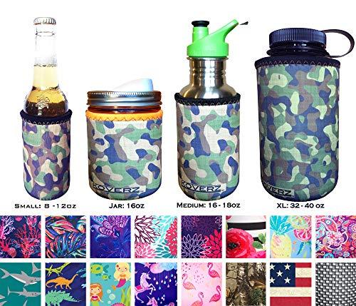 Koverz for Jars - #1 Neoprene Mason Jar Coolie 16 oz Insulator Sleeve - Choose from 14 Styles! - Vintage Camo ()