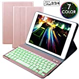 Eoso Keyboard Case for iPad 2 3 4 Built-in Wireless Slim Shell Magnetic PU Protective Cover with 7 Color Backlight for Men Women (Backlit Rose Gold)