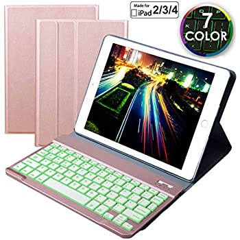 Eoso Keyboard Case for iPad 2/3/4 Built-in Wireless Slim Shell Magnetic PU Protective Cover with 7 Color Backlight for Men Women (Backlit Rose Gold)