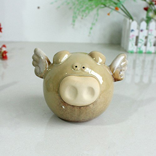 Ceramic Cute Angel Pig Piggy Money Saving Coin Bank for Kids, Birthday Party (Khaki) (Banker Pig)