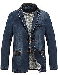 Yeokou Men's Casual Slim Lightweight Cotton Denim Suit Blazer Jacket Sport Coats