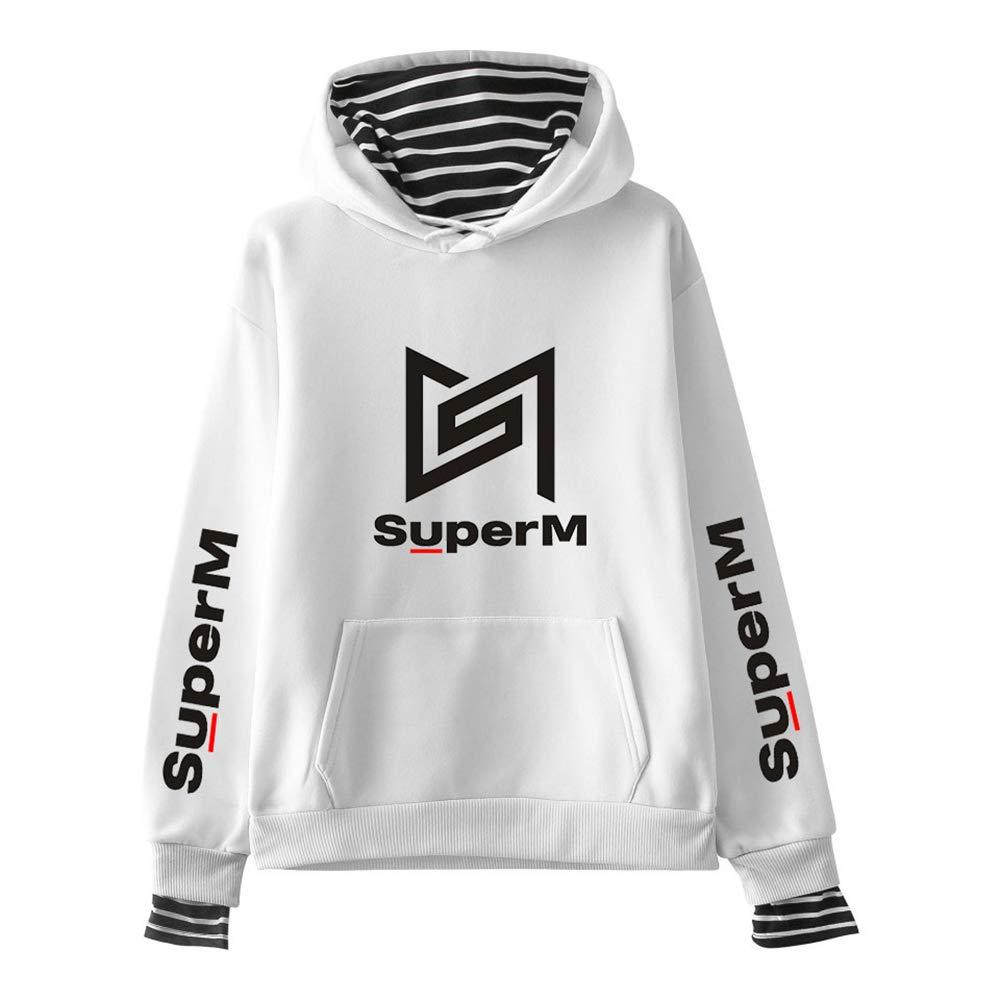 Kpop SuperM Sweat-Shirts /à Capuche Faux Deux Pi/èces Impression de Lettre Pullover Manche Longue Hip Hop Sweats Pull L/âche Tops D/écontract/é Taemin Kai Baekhyun Mark TAEYONG Ten Lucas