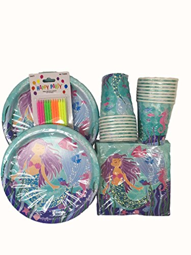 Mermaid Party Kit - Birthday Party Supplies Set Mermaid Theme Dinner Plates and Napkins and ()