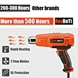 Heat Gun, Portable 1500W Dual Temperature Hot Air Gun 525℉-932℉ by RexBeTi, 7 Accessories for Heat shrink tubing, Wrapping Drying Painting, Non-Slip Soft Handle, Black Orange