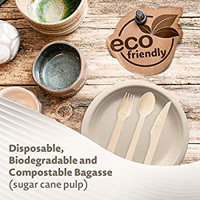 """Disposable Round 9"""" Plates Eco Friendly Sustainable Biodegradable and Compostable Paper Plate Alternative Natural Sugarcane Bagasse Fibers, Extra Strong and Sturdy Tree and Plastic Free"""