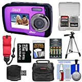 Coleman Duo 2V7WP Dual Screen Shock & Waterproof Digital Camera (Purple) with 16GB Card + Batteries & Charger + Case + Float Strap + Tripod + Kit