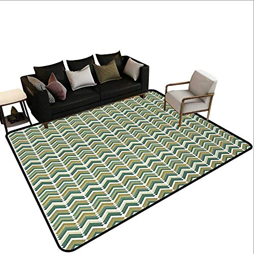 Ballard Green Runner - Runner Rugs Abstract,Retro Style Herringbone Zigzags and Rhombus Vintage Inspired Pattern,Khaki Reseda Green Teal,for Living Room Bedrooms Kids Nursery Home Decor 6'x 9'