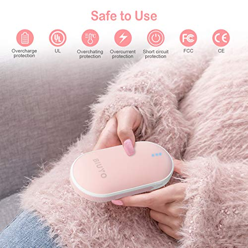 BIUYO Hand Warmers Rechargeable 2019 latest USB Portable Charger Double-Sided Heating Pocket Hand Warmer Best Winter Gifts for Women Men 5200mAh Electric Portable Pocket Hand Warmer//Power Bank Safe Heat Therapy Pain Relief