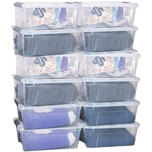 age Box Storage Tote Boxes W/Clear Lid 13 Quart / 12 Liter Each Liter Latch Stack Tubs Bins w/Clear Lid Latches Handles ()