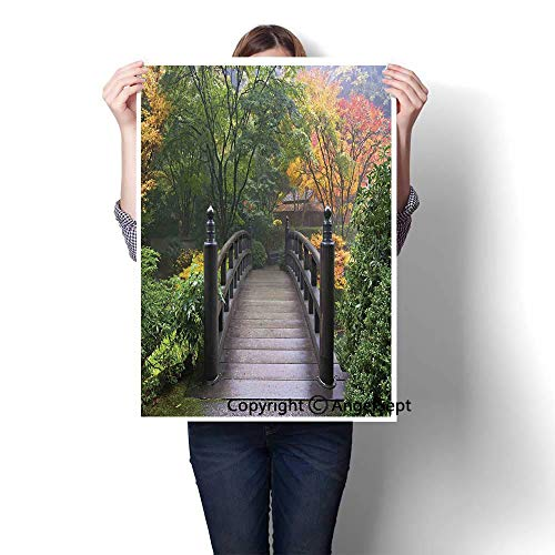Green Coral Modern Canvas Painting Wall Art,Wooden Bridge at Portland Japanese Garden Oregon in Foggy Autumnal Morning Park(16