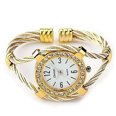 869021d975d4 Skyllc Brazalete Pulsera Diamantes Mujer Dorado Reloj 34mm Moda Fiesta   Amazon.es  Joyería