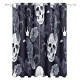 ALAZA Home Horror Decor Watercolor Ethnic Paisley Flowers and Skull Raven Crow Polyester Blackout Curtains for Bedroom 84 Inches Length 2 Panels for Living Room Block Out 80% Light Apartment Decor Review