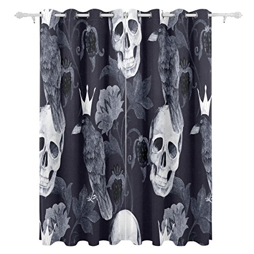 ALAZA Halloween Home Horror Decor Watercolor Ethnic Paisley Flower Skull Raven Crow Polyester Blackout Curtains Bedroom 84 Inches Length 2 Panels Living Room Block Out 80% Light Apartment Decor -