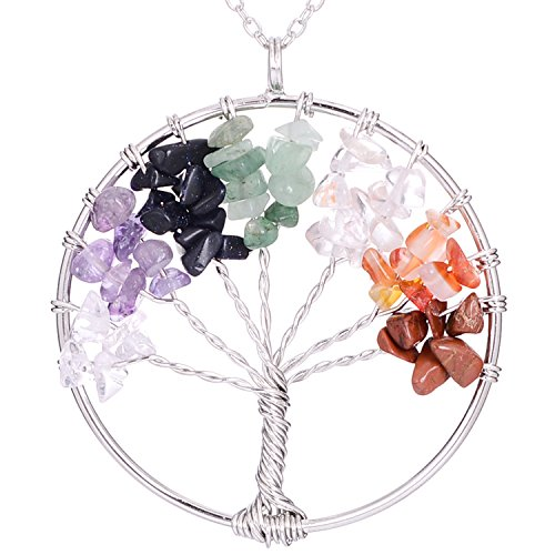 Sedmart Chakra Handmade Tree of Life Pendant Healing Wisdom Quartz Necklace Gemstones Birth Necklace jwelleries for Women Necklace