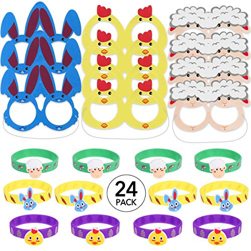 24pcs Easter Crafts for Kids, 12 Glasses & 12 Bunny Bracelets Wristbands for Easter Egg Basket Stuffers Fillers, School Classroom Games Activities, Easter Bunny Costume Accessories Favors for Children Toddlers