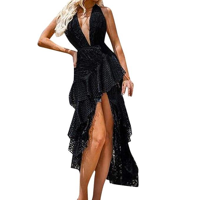 4a2967a5735 Vestidos de Fiesta Mujer Largos, MINXINWY Vestido Largo de Encaje Hueco  Cuello en V Vestidos