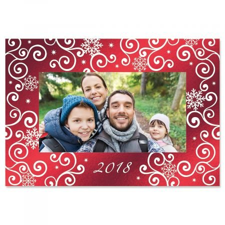 Deluxe Christmas Cards Set - Deluxe Snowflake Photo Sleeve Christmas Cards- Set of 18 Holiday Greeting Cards