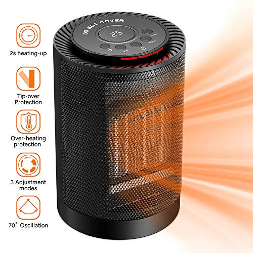 Portable Electric Space Heater, SENDOW 1200W PTC Ceramic Heater Fan with Adjustable Thermostat Overheat & Tip-Over Protection Auto Oscillation