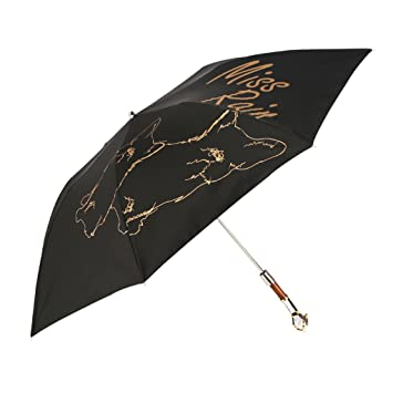 KAIJ Paraguas Cabeza de Perro Mango Creativo Doble semiautomático Paraguas Tres Veces Sol y Lluvia Doble