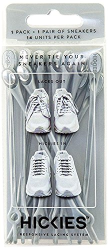 Fit Tie (HICKIES 1.0 Original Elastic One Size Fits All No Tie Laces - Silver (14 HICKIES Shoelaces, Works in all shoes))