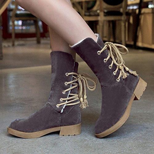 Btrada Women Winter Round Toe Snow Boots Fur Lining Lace-Up Behind Antiskid Flat Outdoor Mid-Calf Boots Grey AvLZabm