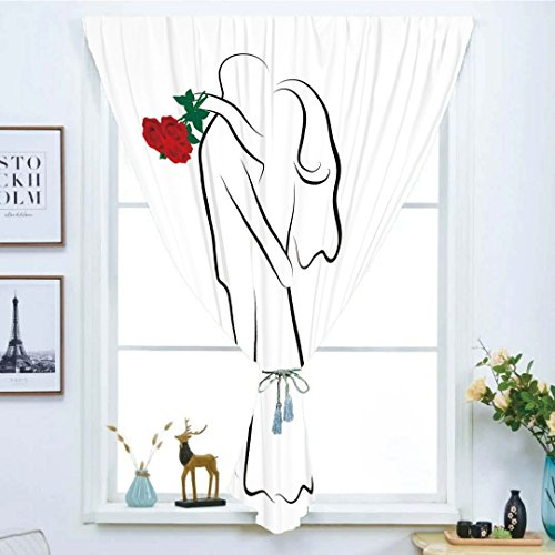 Blackout Window Curtain,Free Punching Magic Stickers Curtain,Wedding,Classical Simple Silhouette of Wedding Couple In Love Red Roses Happy Moments Decorative,Vermilion Black,Paste style,for Living Roo
