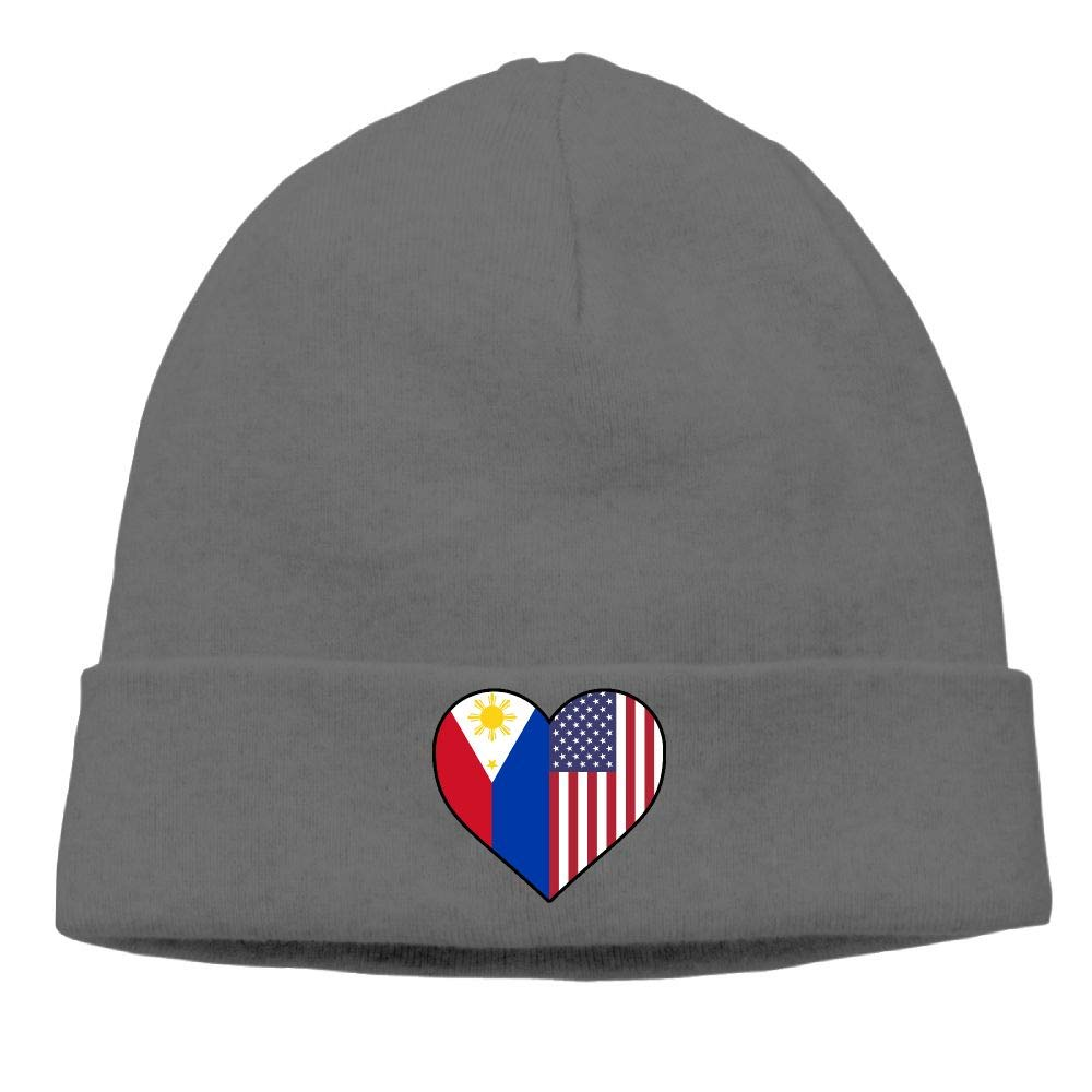 09/&JGJG Philippines Flag Half America Flag Half Heart Shaped Men /& Women Knit Hat Outdoor Newsboy Hat