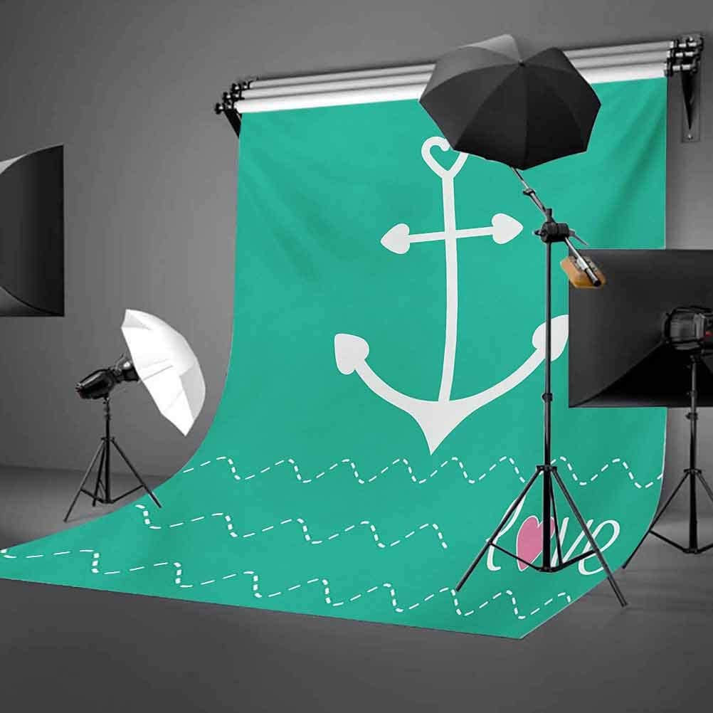 Anchor Heart Shapes and Wavy Lines on The Bottom Sailor Love Loyalty Romance Background for Baby Shower Birthday Wedding Bridal Shower Party Decoration Photo Studio 10x15 FT Photography Backdrop