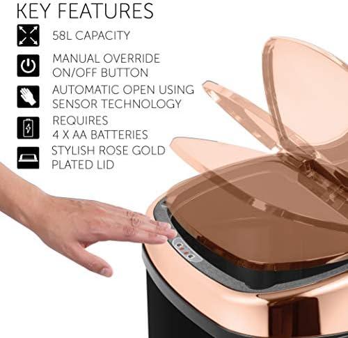 Copper Effect Bread Bin Rose Gold With Window Kitchen Storage Modern Trend