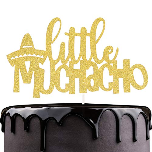 (Little Uno Muchacho Birthday Cake Topper - Boy Baby Shower - Gender Reveal Baby Muchacho On His Way - Gold Glitter Sombrero Mexican Fiesta Party)