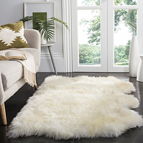 Safavieh Sheepskin Collection SHS211A Genuine Sheepskin Pelt Handmade White Premium Shag Rug (3' x 5') by Safavieh